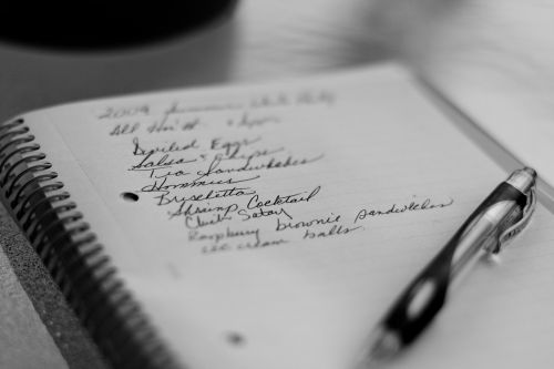 grocery list pen paper