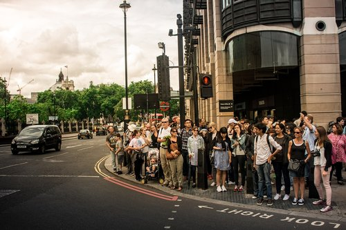 group of people  traffic lights  london