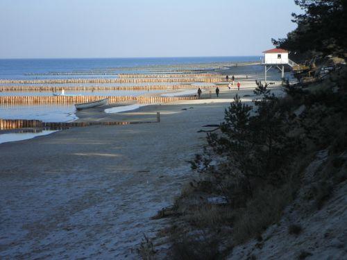groynes water structures wooden posts