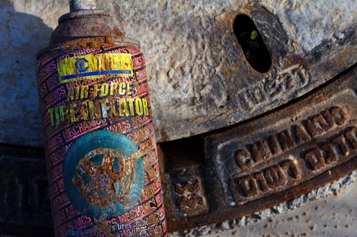 grunge rusty tire inflator