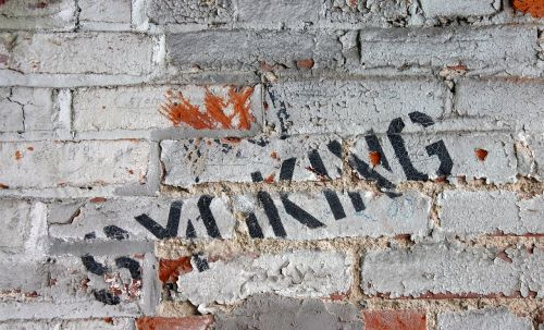 grunge brick peeling paint