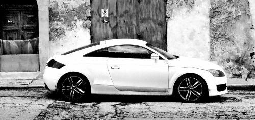 Grungy White Sports Car