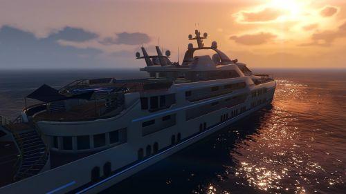 gta v yacht sunset