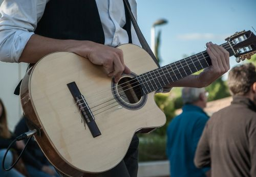 guitar guitarist street musician