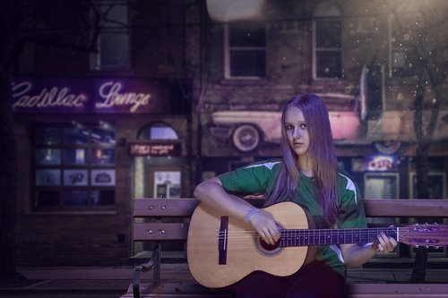 guitar  girl  night