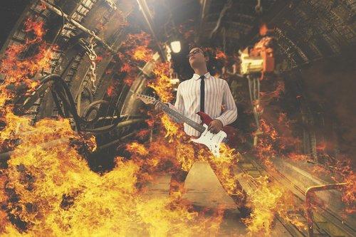 guitarist  fire  rock