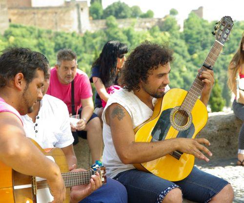 guitarist street musicians spain