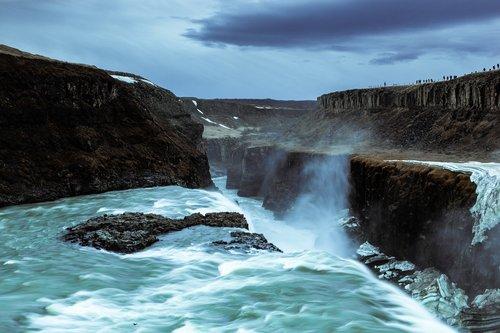 gullfoss  iceland  waterfall