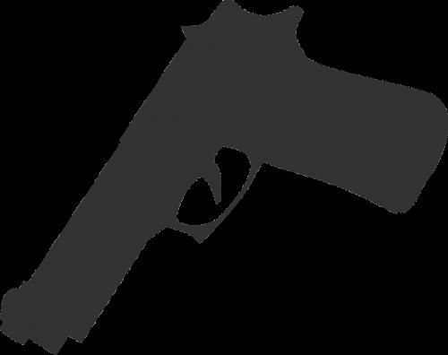 pistoletas,ginklas,siluetas,pilka,nurodant,žemyn,nemokama vektorinė grafika