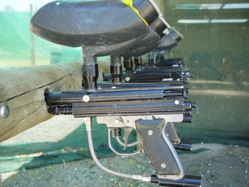 guns paintball racked