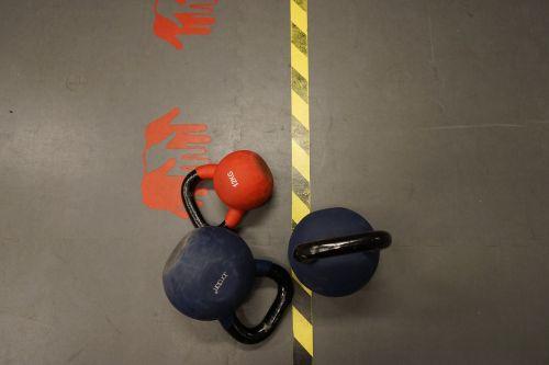 red dumbbells training