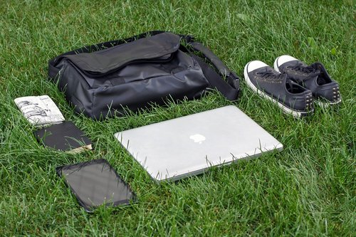 gym shoes  notebook  bag