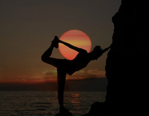 gymnast  sunset  silhouette