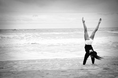 gymnast beach ocean