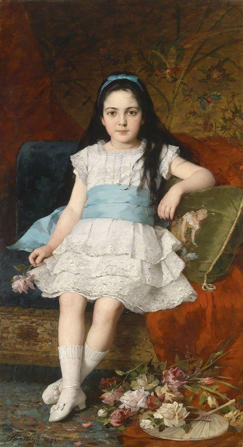 gyorgy vastagh,mergaitė,vaikas,portretas,dažymas,aliejus ant drobės,menas,meno,meniškumas
