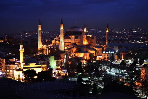 hagia sophia cami night