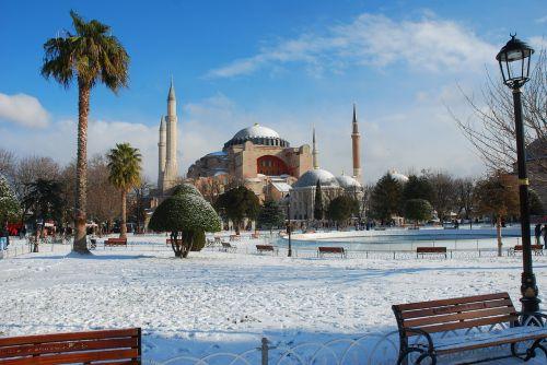 hagia sophia sultanahmet snow