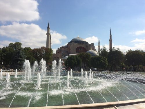 hagia sophia mosque day fountain