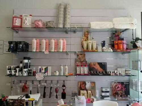 hairdressing shelving perfumes