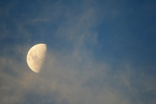 Half Moon And Cloudy Mist