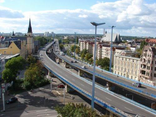 halle germany city flyover