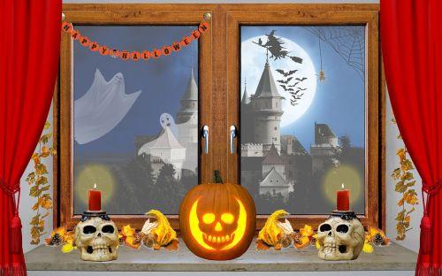 halloween window pumpkin