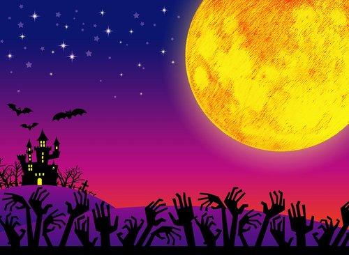 halloween  moon  haunted house
