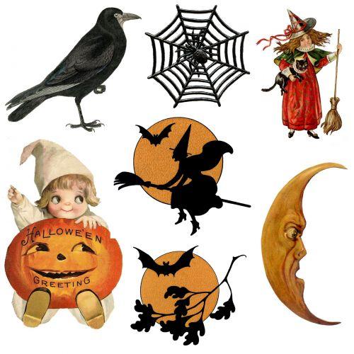 Halloween Vintage Icons Symbols