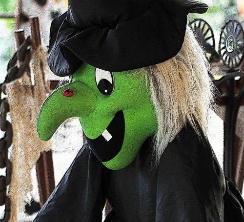 Halloween, ragana, veidas, juoda, žalias, apdaila, dekoracijos, baugus, Helovyno ragana