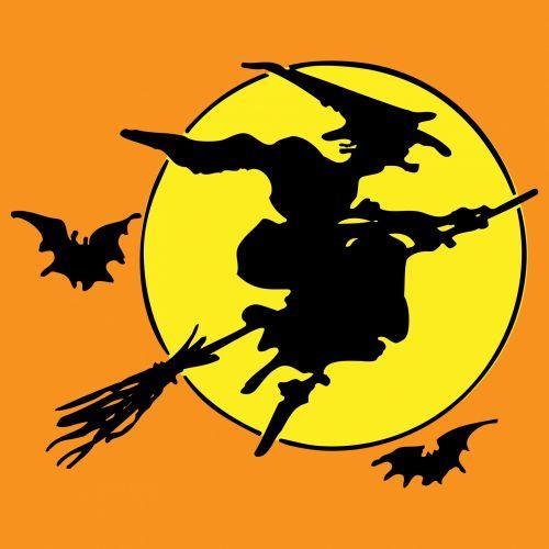 halloweenwitchbroomstickbatbatsflyingblacksilhouette