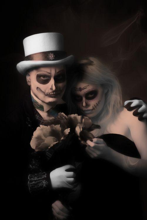 haloween make-up couple