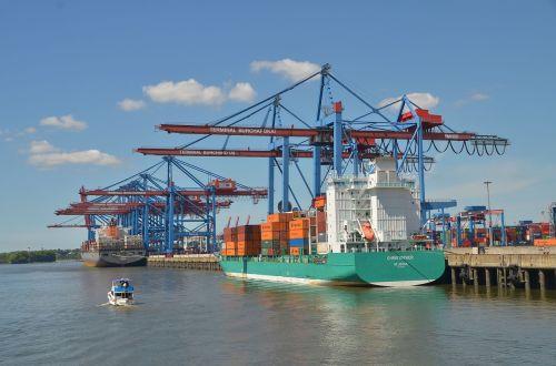 hamburg ship crane terminal ship