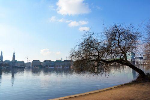hamburgas,ežeras,miesto parkas,Hanzos miestas,kraštovaizdis,poilsis,verta aplankyti,Alster,vandenys