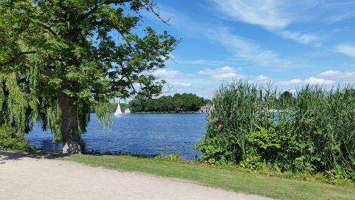 hamburgas,Alster,vanduo,burlaiviai,dangus,kraštovaizdis,tipiškas hamburgas,gamta,bankas,hamburg alster,ežeras