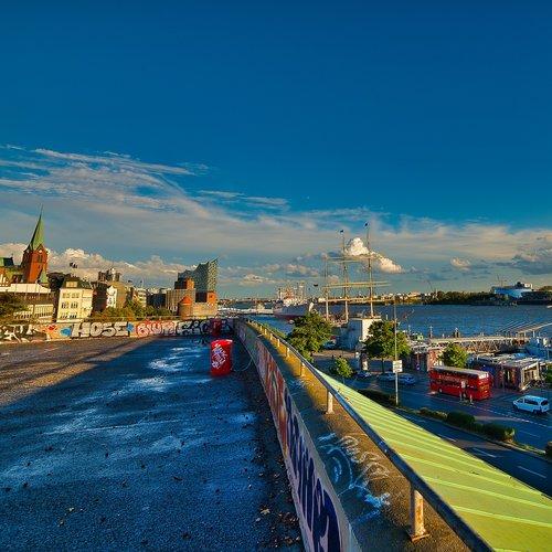 hamburg  harbour city  landungsbrücken