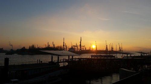 hamburg  port  sunset