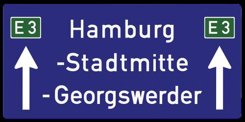hamburg autobahn road sign