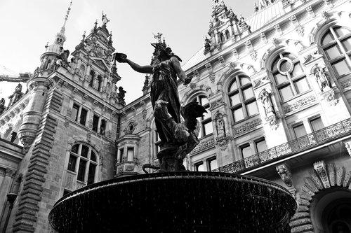 hamburgensien  town hall  hammonia fountain
