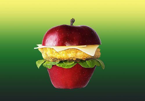 hamburger apple food