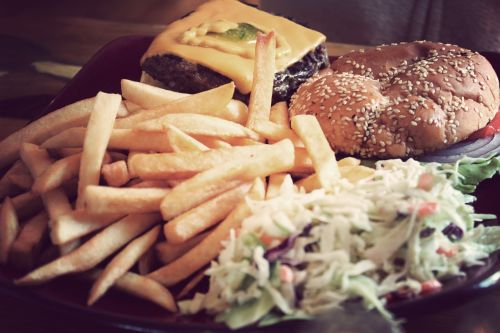 hamburger french fries coleslaw
