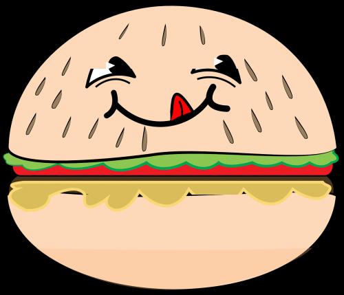 hamburger smile cartoon
