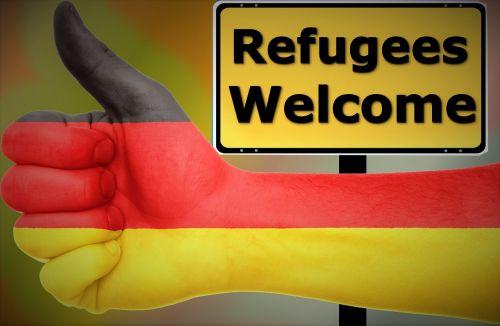 ranka,skydas,Vokietija,prieglobstis,pabėgėliai,kartu