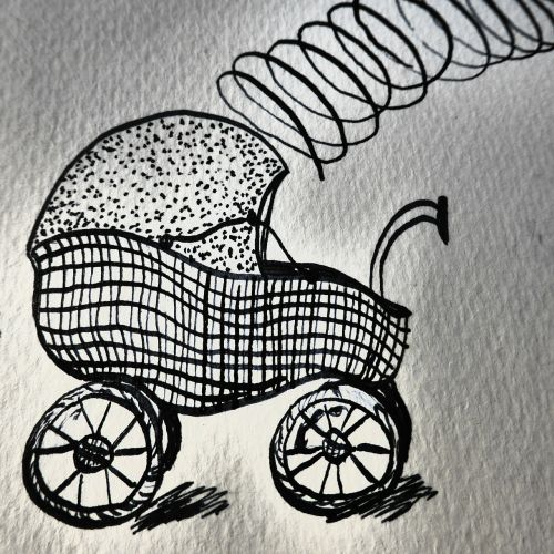 hand drawn sketch baby carriage birth