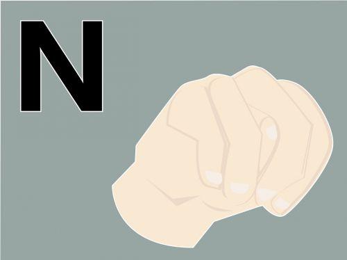 hand language n word