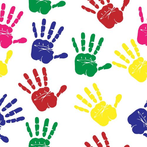 hand prints colourful print