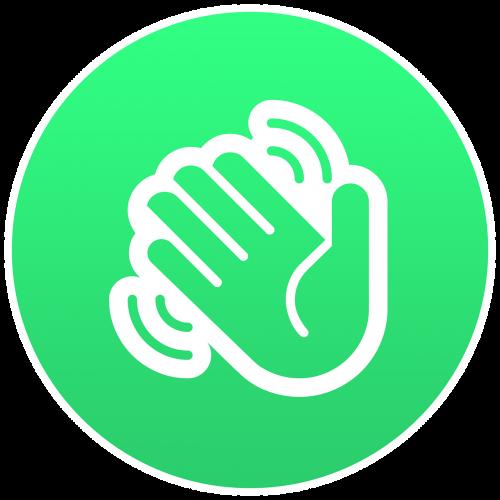 hand waving emoji round