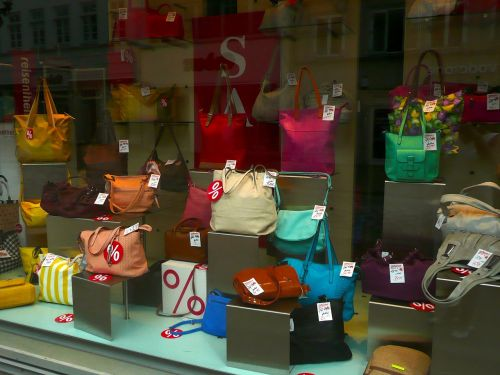 handbags shop window retail