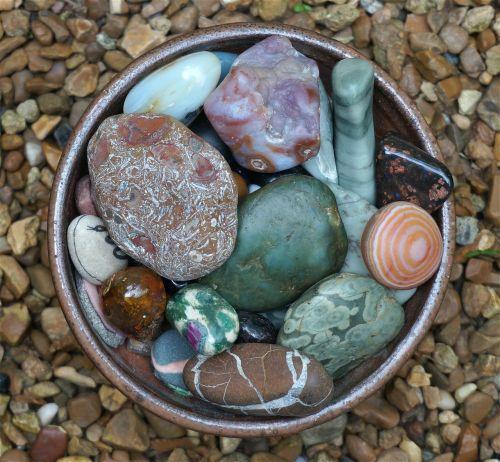 handmade bowl tumbled stones stones