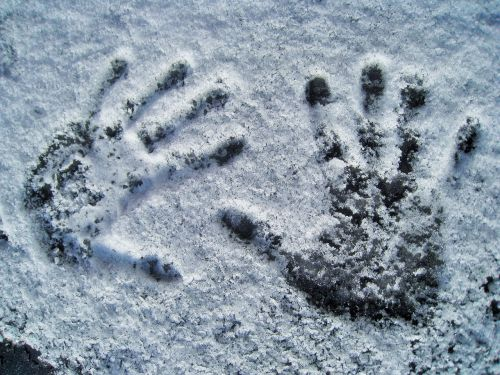 handprint in snow handprint snow white