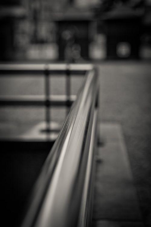 handrail black white metal